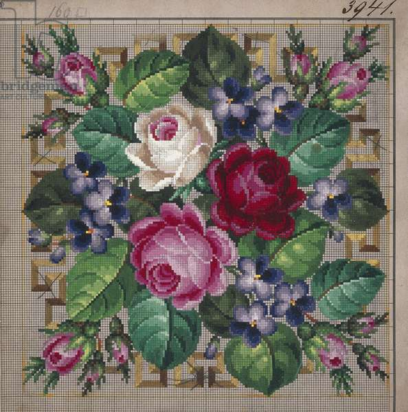Bunch of roses and violets embroidery design, bordered by geometric motifs, 19th century