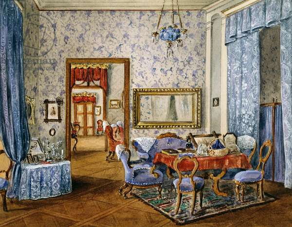 Biedermeier style bedroom, circa 1830, watercolor, Austria, 19th century