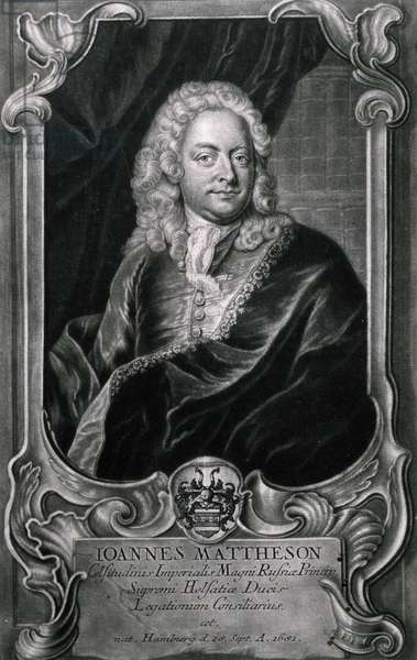 Portrait of Johann Mattheson (1681-1764), German composer and singer, Engraving