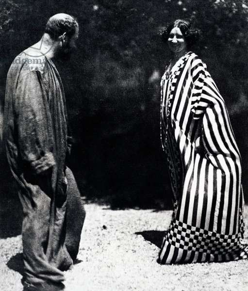 Gustav Klimt and Emilie Flöge, wearing kaftans designed by Klimt, himself (b/w photo)