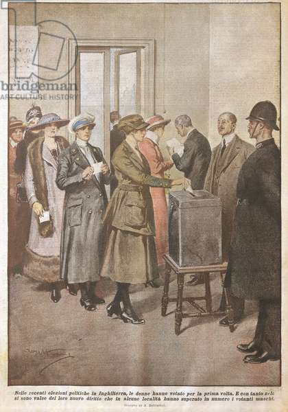 Political elections in England: Women voting for first time, by Achille Beltrame (1871-1945), from La Domenica del Corriere, 20th century