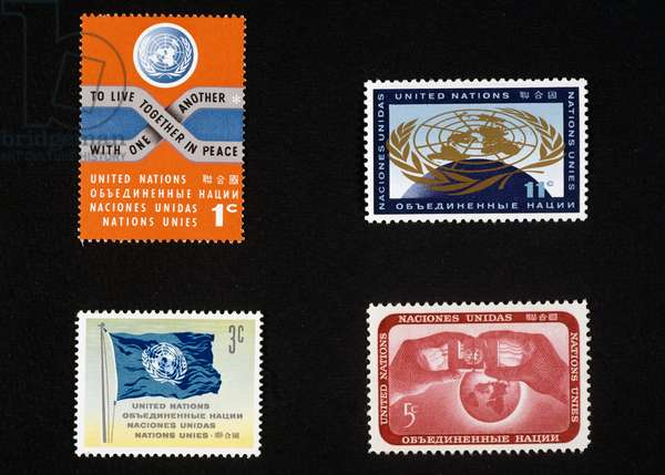 Postage stamps depicting coat of arms of United Nations, United Nations, 20th century