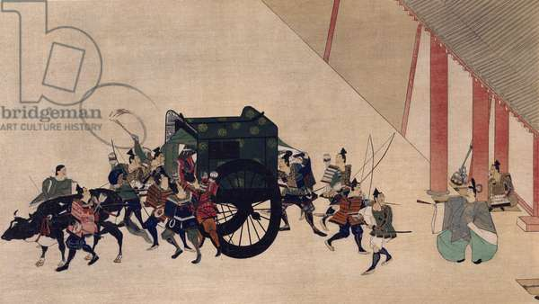 Ukiyo-e print depicting Prince Genji's carriage, Japanese civilization, Sotatsu school, 17th century