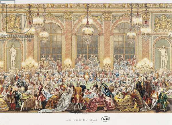 France, Paris, Age of Louis XV, aristocrats playing at Jeu du Roi in the Hall of Mirrors of the Versailles Palace