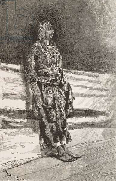 Man wearing Circassia costume, from watercolor by Mariano Fortuny (1838-1874), engraving from L'Illustrazione Italiana, Year 3, No 24, April 9, 1876