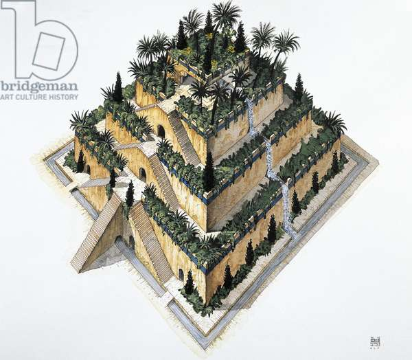 Reconstruction of Hanging Gardens of Babylon ordered by King Nebuchadnezzar II, drawing, Babylonian civilization