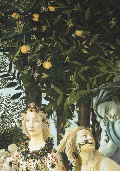 Flora, Zephyrus and Cloris, detail from the Spring, circa 1482, Sandro Botticelli (1445-1510), tempera on wood, 203x314 cm