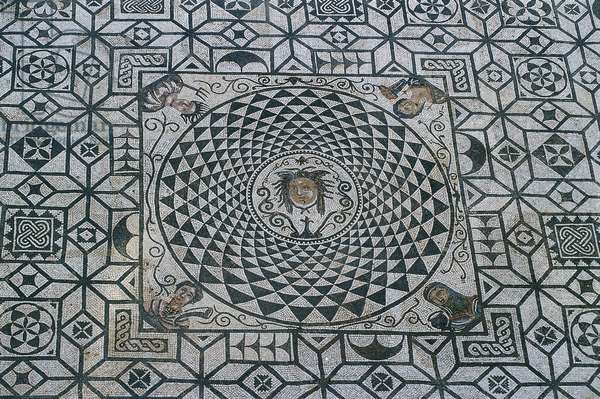 Spain, Andalusia, Carmona, Roman mosaic in courtyard of Town Hall