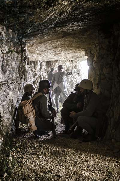 Historical reenactment: Infantrymen of Austro-Hungarian Empire in cave carved into rock, Italian front, autumn 1916, Pre Second World War, 20th century