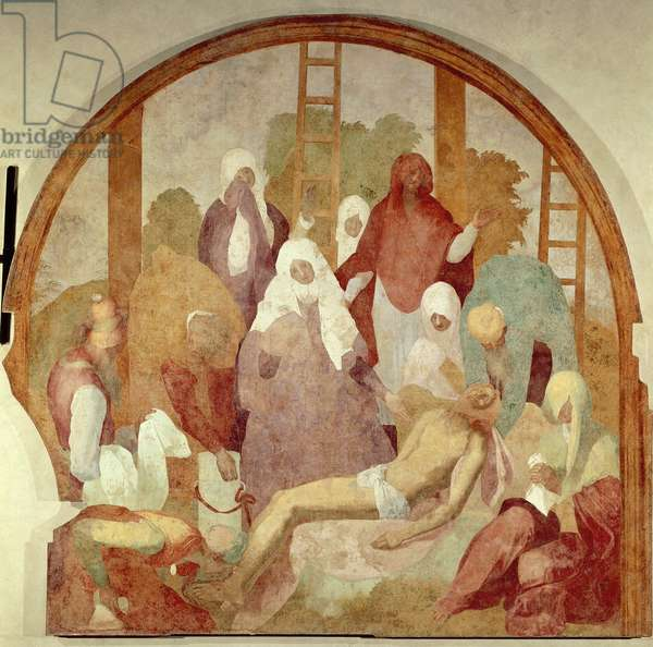 The deposition, detail from Fresco Cycle of Passion by Giacomo Carucci, known as Pontormo (1494-1556), fresco, 300x290 cm Certosa di Galluzzo, Florence, 1523-1525