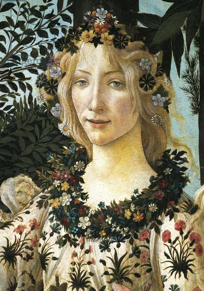 Figure of Flora, detail of the allegory of spring, ca 1477-1490, by Sandro Botticelli (1445-1510), tempera on wood, 203x314 cm.
