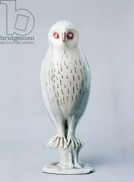 Eagle owl, 1929-1930, by Arturo Martini (1889-1947), polychrome ceramic molded in one piece. Italy, 20th century.