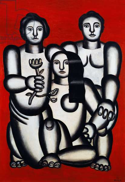 Three girls on red background (composition with three women), 1927, by Fernand Leger (1881-1955), oil on canvas. France, 20th century.