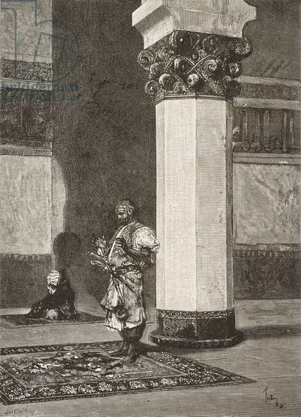 Prayer in mosque, from watercolor by Mariano Fortuny (1838-1874), engraving from L'Illustrazione Italiana, Year 3, No 24, April 9, 1876