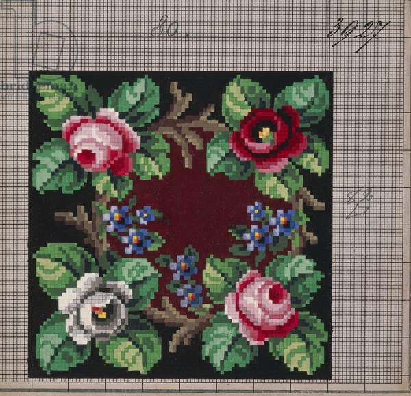 Garland of roses and forget-me-nots embroidery design, 19th century