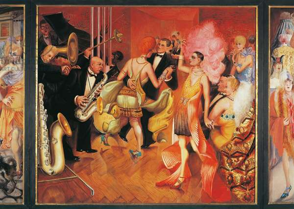 The big city, 1927-1928, by Otto Dix (1891-1969), tempera on wood. Germany, 20th century. Central panel of the triptych.