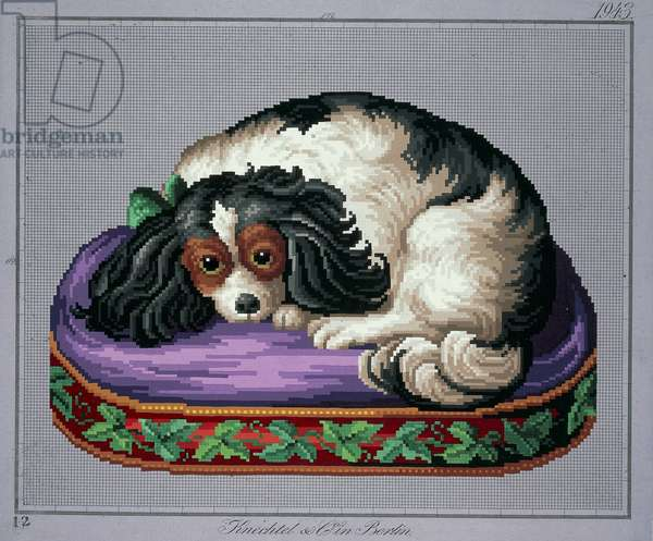 Sleeping dog embroidery design, 19th century