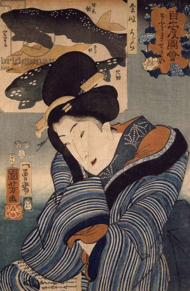 I Wish he Were Here, Woman from the Province of Iki, by Utagawa Kuniyoshi, 1852, woodcut, 1799-1861, Japanese Civilization, Meiji period