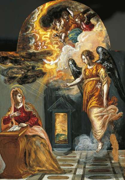 Annunciation, portable triptych altar, by El Greco (1541-1614)