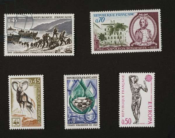 Postage stamps, Landing in Provence (1944), 1969, bicentenary of birth of Napoleon Bonaparte (1769-1821), 1969, Mediterranean mouflon, 1969, European Charter on Water Resources, 1969, Statue by Auguste Rodin, Age of Bronze, 1974, France, 20th century