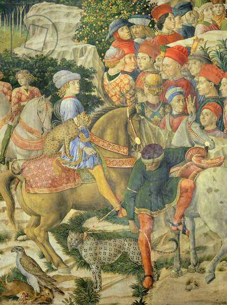 The cavalcade of the Magi, 1459, by Benozzo Gozzoli (1420-about 1497), fresco. Detail depicting the parade from the west wall showing Giuliano de Medici and spotted leopard. Palazzo Medici Riccardi, Florence.