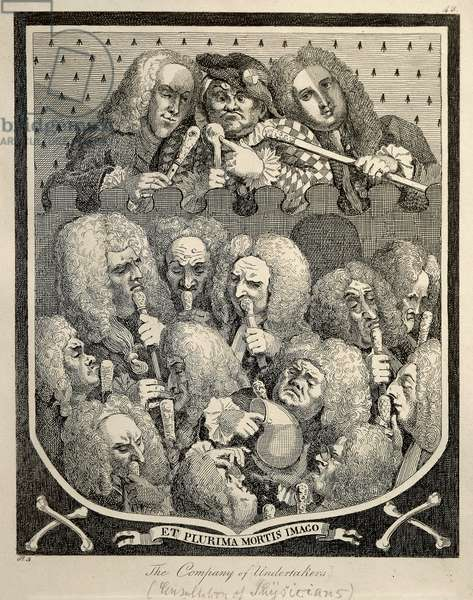 The Company of Undertakers by Georg Friedrich Haendel, caricature engraving by William Hogarth