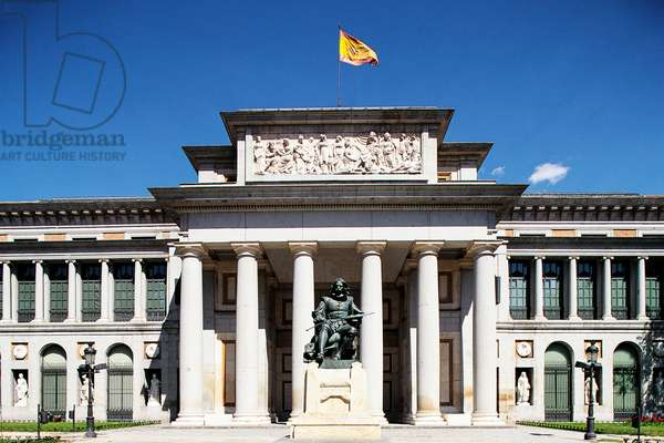Main entrance to Prado Museum with monument to Diego Velazquez (1599-1660), 1899, by Aniceto Marinas, Madrid, Spain