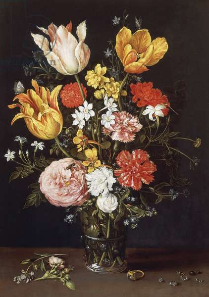 Vase of Flowers with Ring and Diamonds, by Jan Brueghel the Elder, 1568-1625