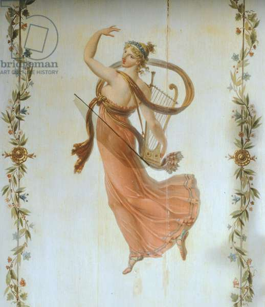 Muse of music, 19th century, painting on wood in French Empire style