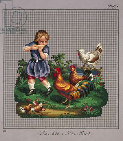 Little boy with rooster, hens and chicks embroidery design, 19th century