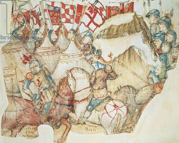 The Battle of Montaperti, September 4, 1260: The Guelphs from Florence are defeated by the Ghibellines from Siena under the command of Farinata degli Uberti, miniature from a manuscript, Italy 15th Century.