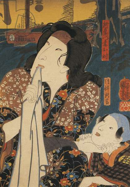 Actor in pensive pose beside child, by Utagawa Kuniyoshi, woodcut, 1798-1861, Japanese Civilization, Meiji period