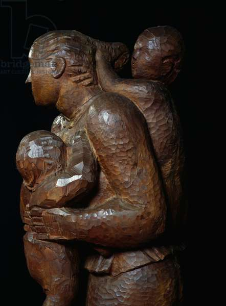 Maternity, 1929-1930, wooden sculpture by Arturo Martini (1889-1947). Italy, 20th century.