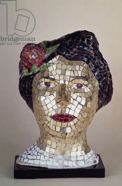 Polychrome mosaic of a woman's head, 1938, by Lucio Fontana (1899-1968). Italy, 20th century.