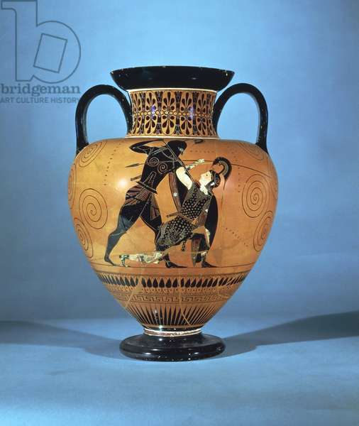 Black-figure pottery, amphora by Exekias depicting Achilles and Penthesilea, Greek civilization