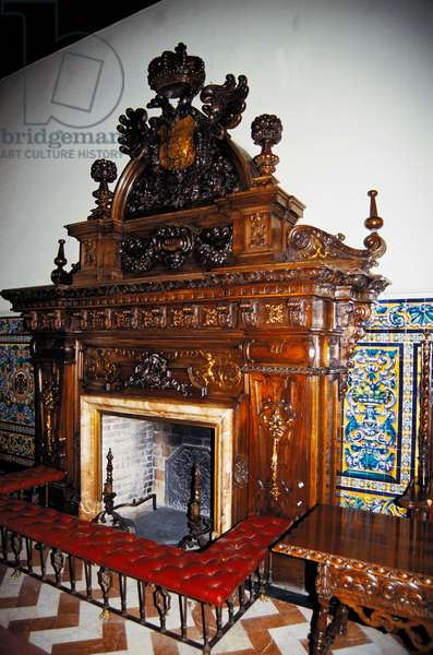 Fireplace at Hotel Alfonso XIII, Seville, Andalusia, Spain