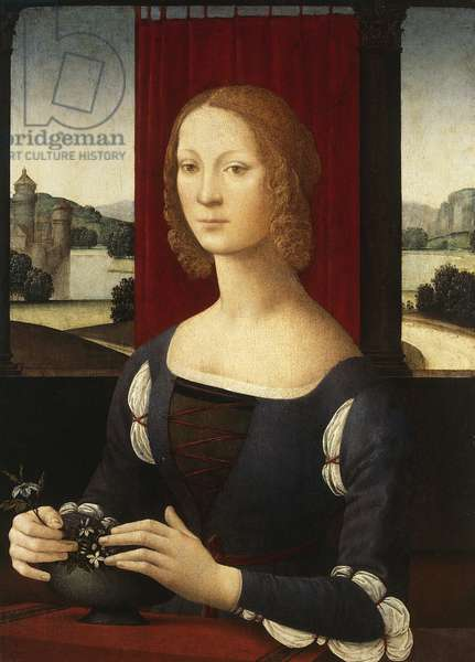 Portrait of Caterina Sforza Riario (Milan, 1463-Florence, 1509), Lady of Imola and Forli, 1481-1483 painting by Lorenzo di Credi (circa 1456-1536), oil on canvas, 75x54 cm