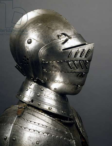 Helmet from horseman's armor in steel, made in Northern Italy in late 16th century, Italy, 16th century