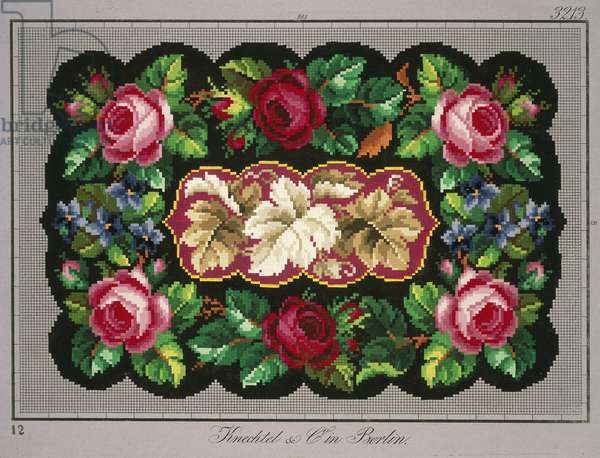 Pillow or carpet pattern with roses, violets and vine leaves, 19th century