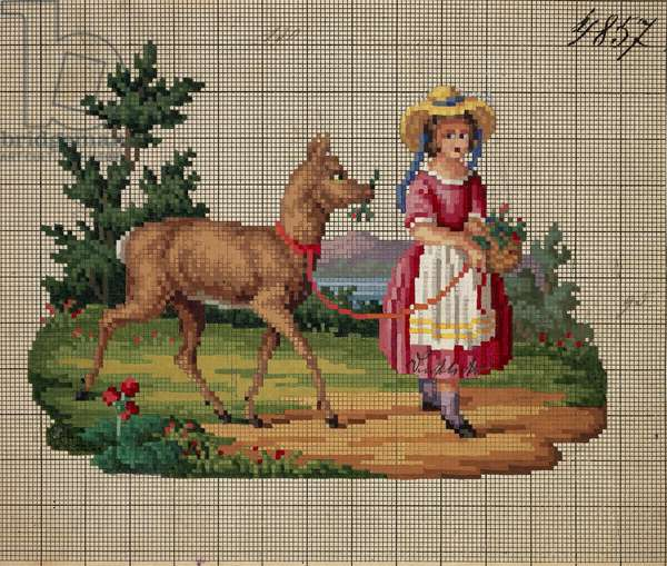 Little girl with pricket on leash embroidery design, 19th century