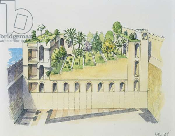 Palace of Nebuchadnezzar, Babylon, with hanging gardens (colour litho)