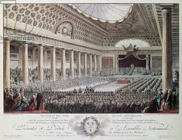 Opening of the States-General at Versailles in 1789, engraving by Helmann, French Revolution, France, 18th century
