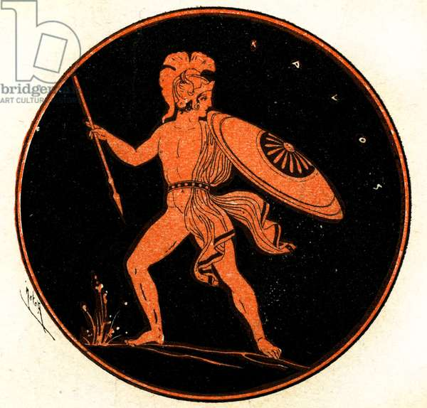 A Greek Warrior, Illustration from Notor's Lysistrata,  1898 (litho)