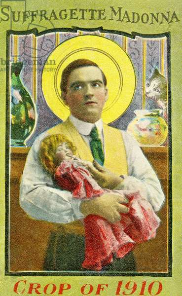 Postcard depicting a House Husband as Suffragette Madonna, c.1910 (photo)