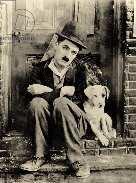 Co-stars Charlie Chaplin and Scraps, A Dog's Life, c.1918 (b/w photo)