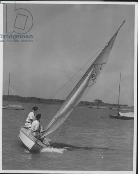 Sailboats Passing By, 1935-36 (b/w photo)