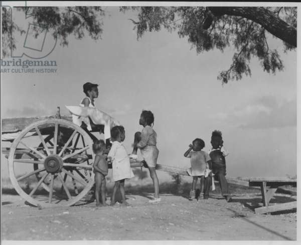 African-American Girls on Wagon, Texas, 1935-36 (b/w photo)