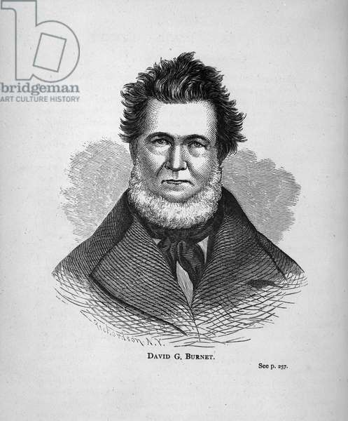 David G. Burnett, from 'Texas History Scrapbook' (engraving) (b/w photo)