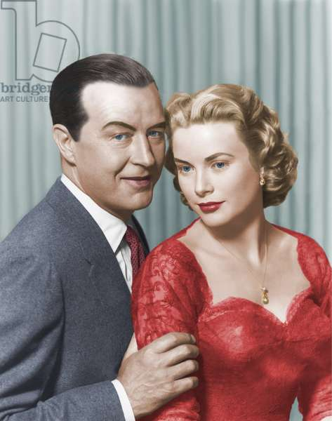 DIAL M FOR MURDER, 1954 directed by ALFRED HITCHCOCK Ray Milland and Grace Kelly (photo)