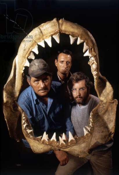 JAWS, 1975 directed by STEVEN SPIELBERG Robert Shaw, Roy Scheider and Richard Dreyfuss (photo)